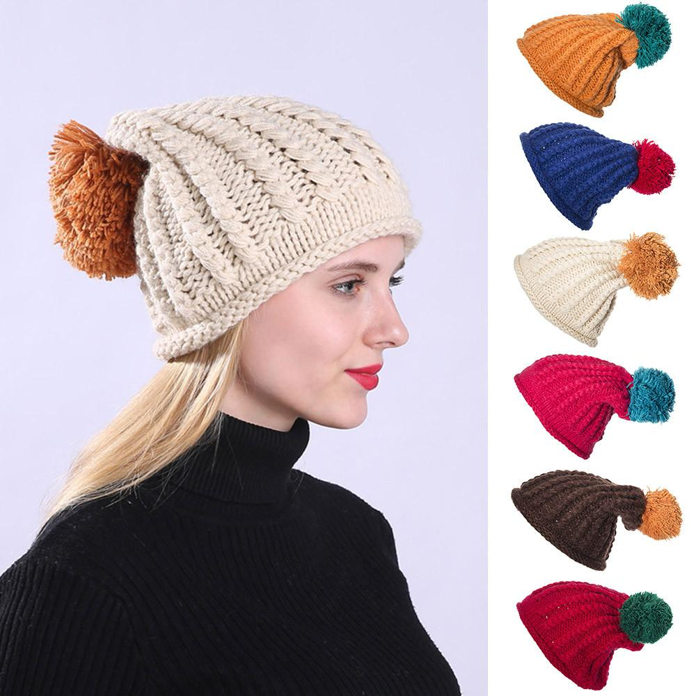Women Winter Beanie Hat Knitted Ladies Fashion Large Pom Pom Gifts Cool and  warm hat 848a4eb7b3e