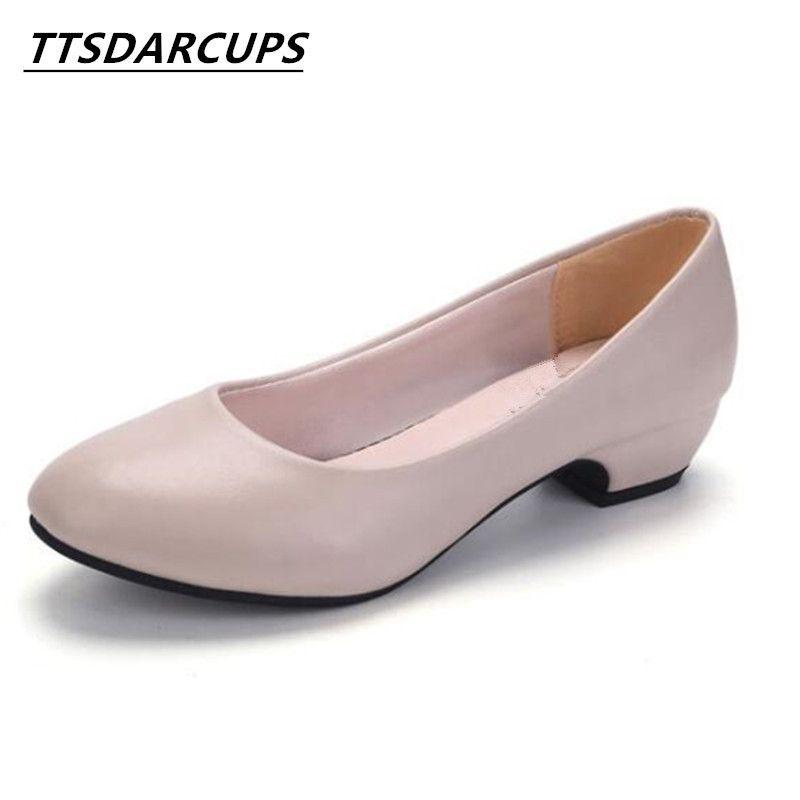 93f8388db0 Compre Vestido Ttsarcarcups Nova Cabeça Redonda E Rasa Sapatos Femininos Ol  Calçados Profissionais Meia Idade E Velho Sapatos De Salto Baixo Da Mãe 35  40 Ya ...