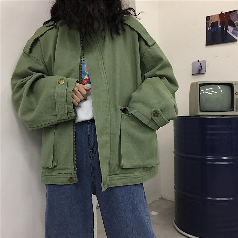 Korean Plus Size Loose Cargo Streetwear Pocket Jacket Tracksuit