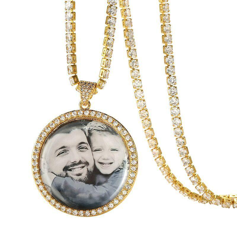 Custom Photo Round Medallions Necklace & Pendant With Tennis Chain Gold Silver Color Cubic Zircon Men's Woman's Hip Hop Jewelr J190625