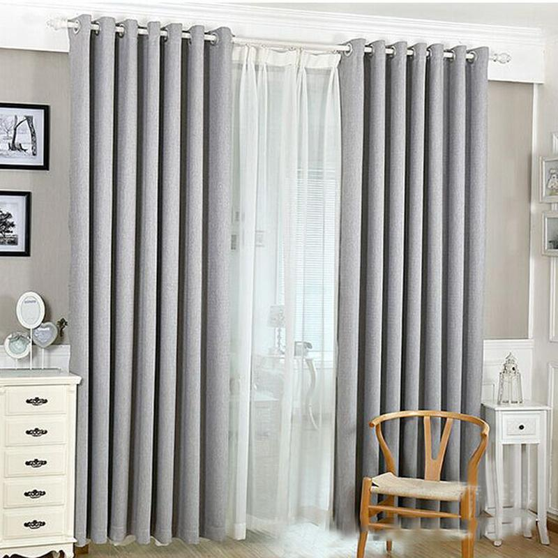 Solid Room Home Light Color Cotton Linen Bedroom Door Window Drape Blackout Curtain Block 2018