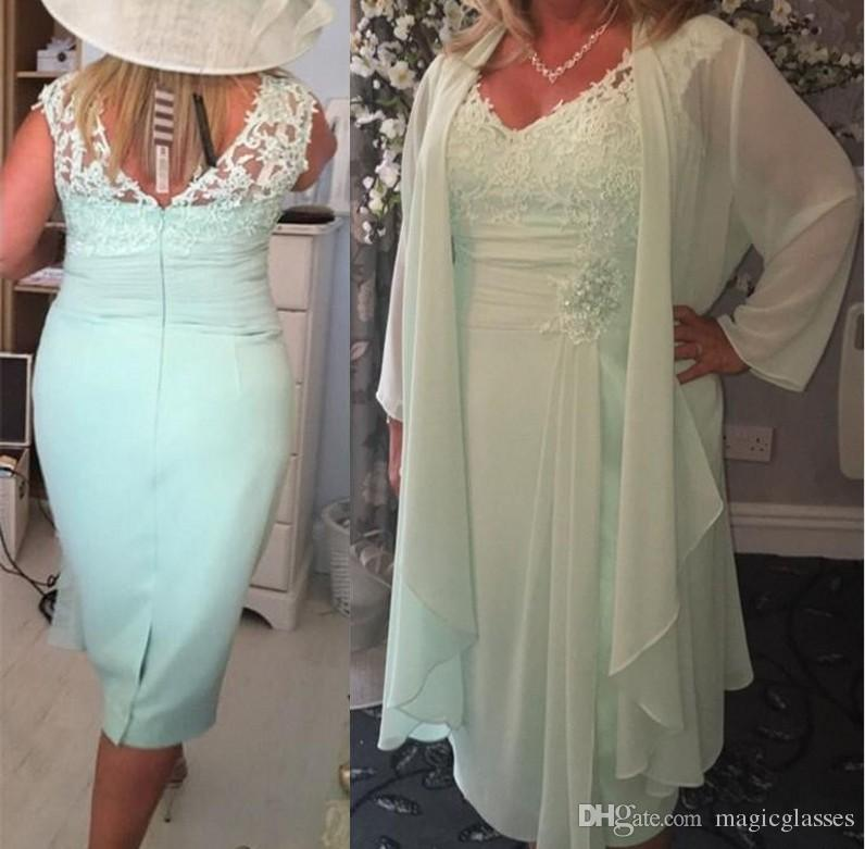 Chiffon Mint Green V Neck Column Short Mother of the Bride Dresses with Wrap Plus Size Casual Jacket Lace Tea Length Evening Gowns