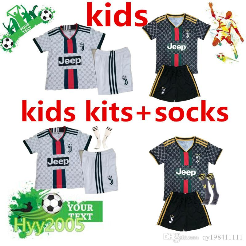 premium selection 0b5b3 09f0a Juventus child soccer kit socks 2019 2020 JUVE kids soccer commemorate  jersey 19/20 DYBALA RONALDO child football kit
