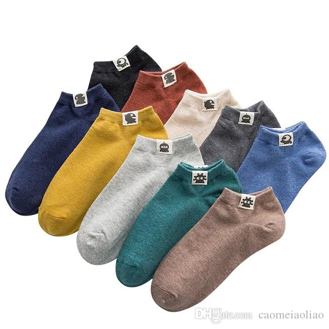 100% cotton men's socks thin summer deodorization sweat-absorbing short canister low-help boat socks