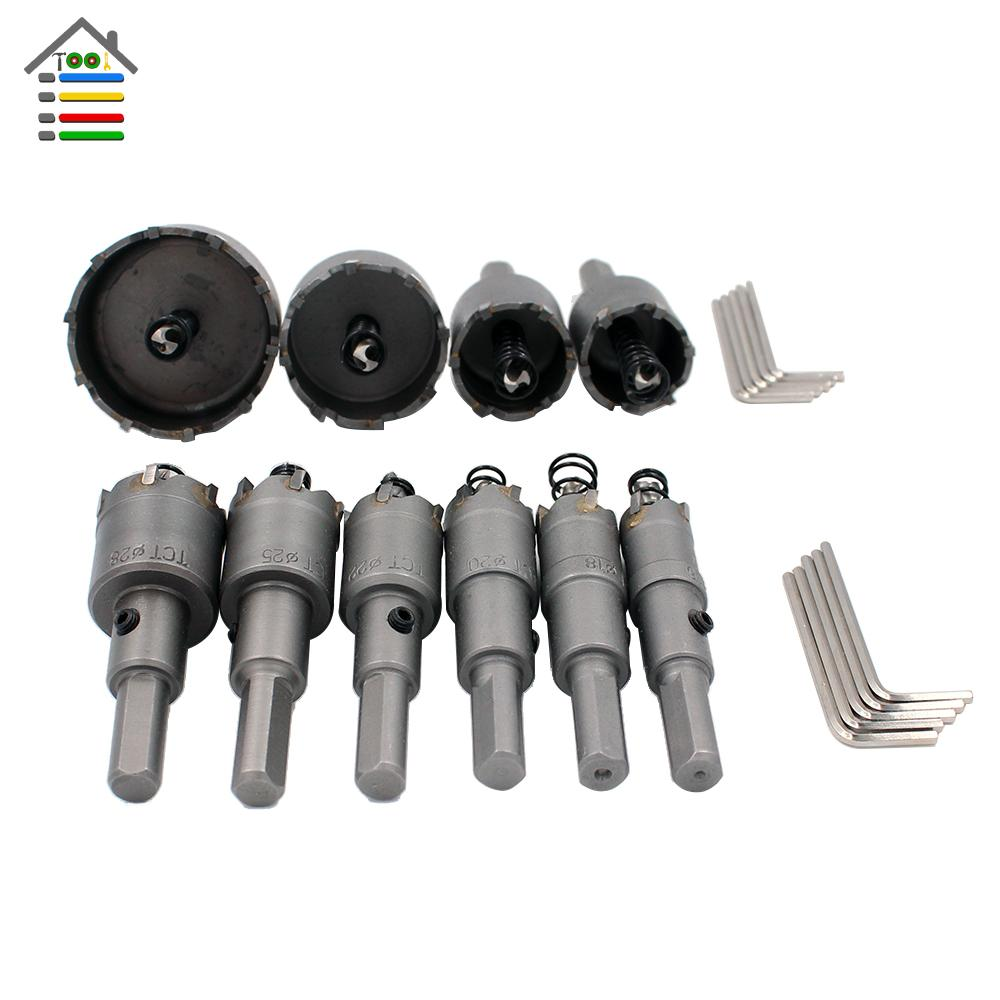 drill bit saw 10PC 16mm-50mm Tungsten Steel Carbide Tipped TCT Drill Bits Metal Drilling Stainless Cutter Hole Saw Set Multi Tool