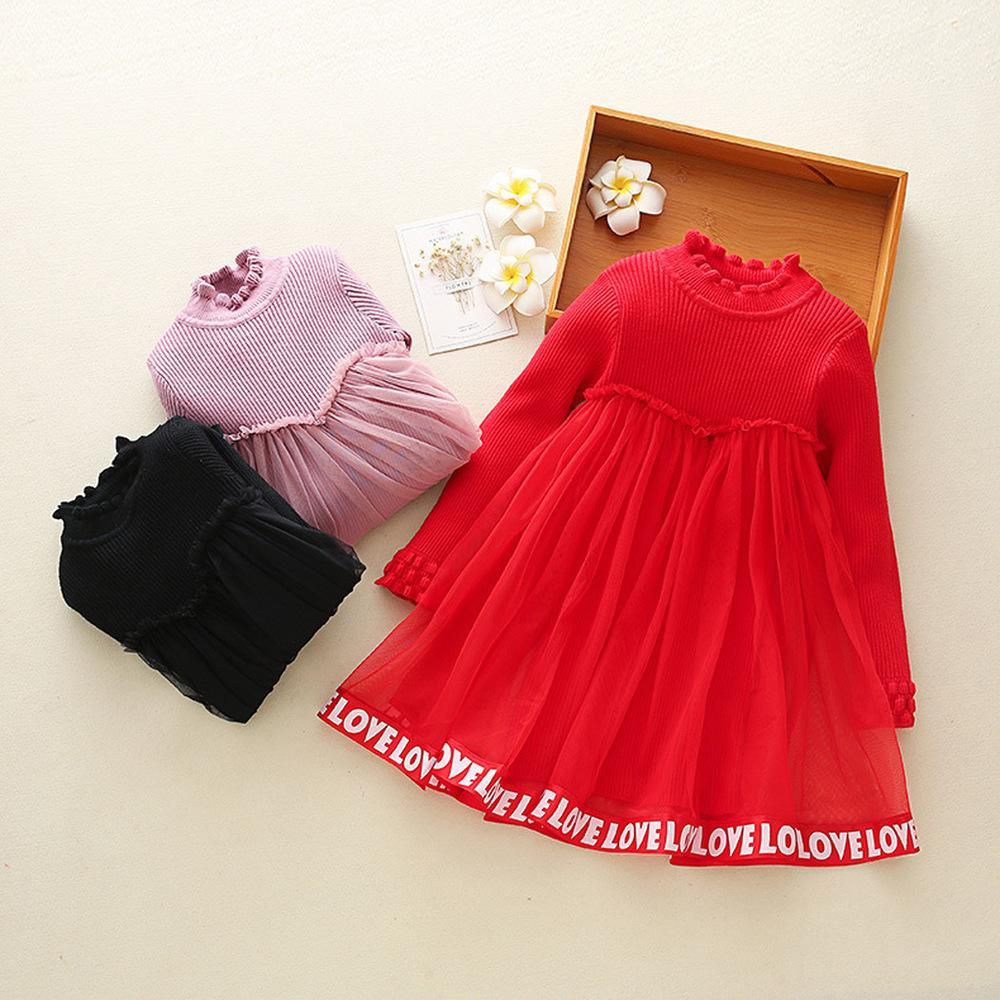 ba7d0140a62 Новые детские платья девушка осень зима с длинным рукавом девушки Письмо  печати трикотажные платья костюм для 2-11 лет девушки одежда CA385