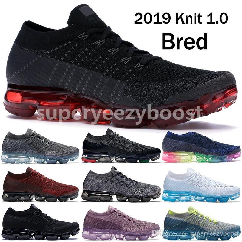 1ef65bbbf128cc Acquista Nike Vapormax Flyknit 1.0 Scarpe Da Corsa Da Uomo Scarpe Da Sposa  Bred Triple Nero Firmate Donne Viola Chiaro Sprite Polvere Minerale BHM Scarpe  Da ...