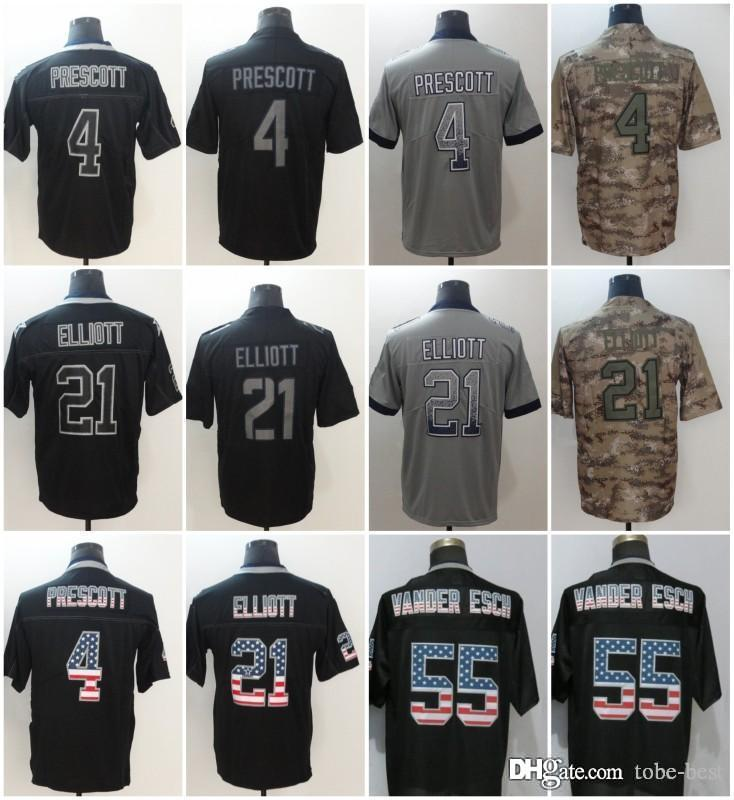 new styles 15894 05d5a Dallas 4 Dak Prescott Jerseys 21 Ezekiel Elliott Cowboys 2018 Salute to  Service USA Flag Fashion Impact Lights out Black Rush Camo Limited