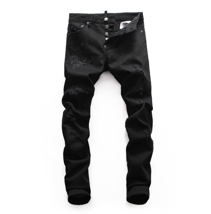 D2019 High quality fashion New Style Brand Men's Denim Jean Embroidery Tiger Pants Holes Jeans Zipper Men Stretch hole jeans #8651