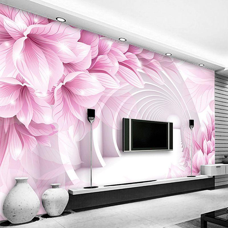 . Custom 3D Mural Wallpaper Creative Modern Abstract Artistic Pink Flower  White Corridor Wall Mural Bedroom TV Backdrop Wall Paper