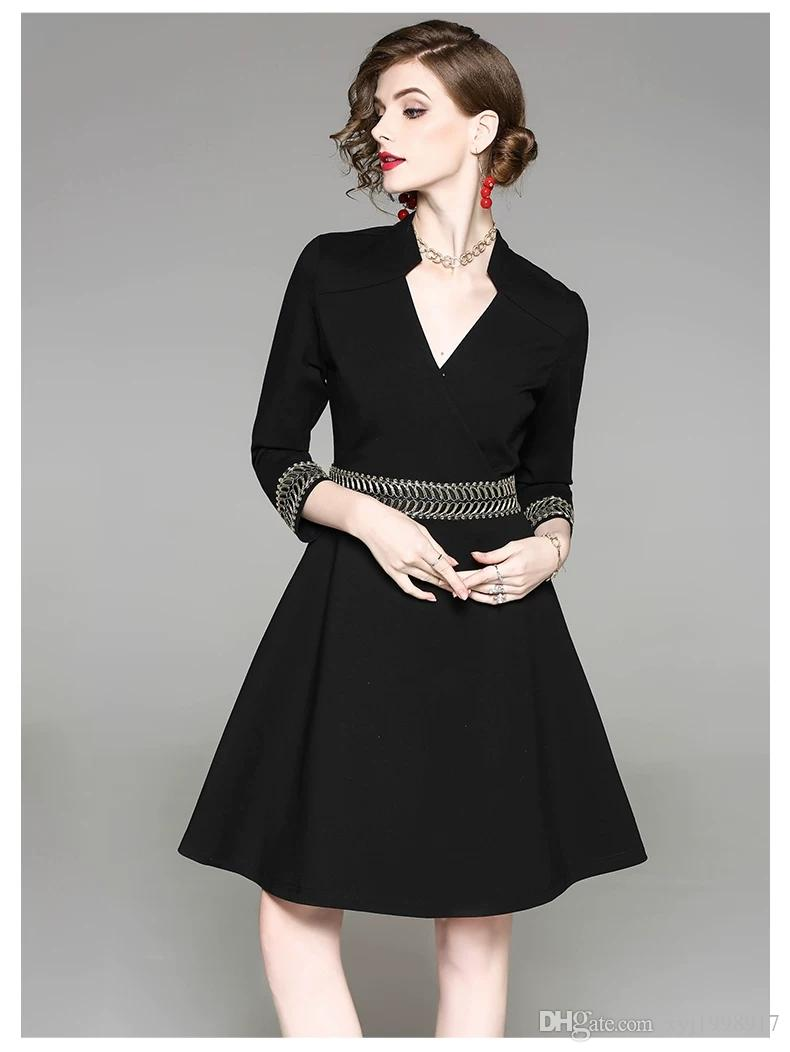 0cdf4cbe Famous Lady Of The Annual Meeting Xiaoxiangfeng Dress Black Formal Occasion  Dress Autumn And Winter Banquet Hepburn Small Black Dress Temper Junior ...