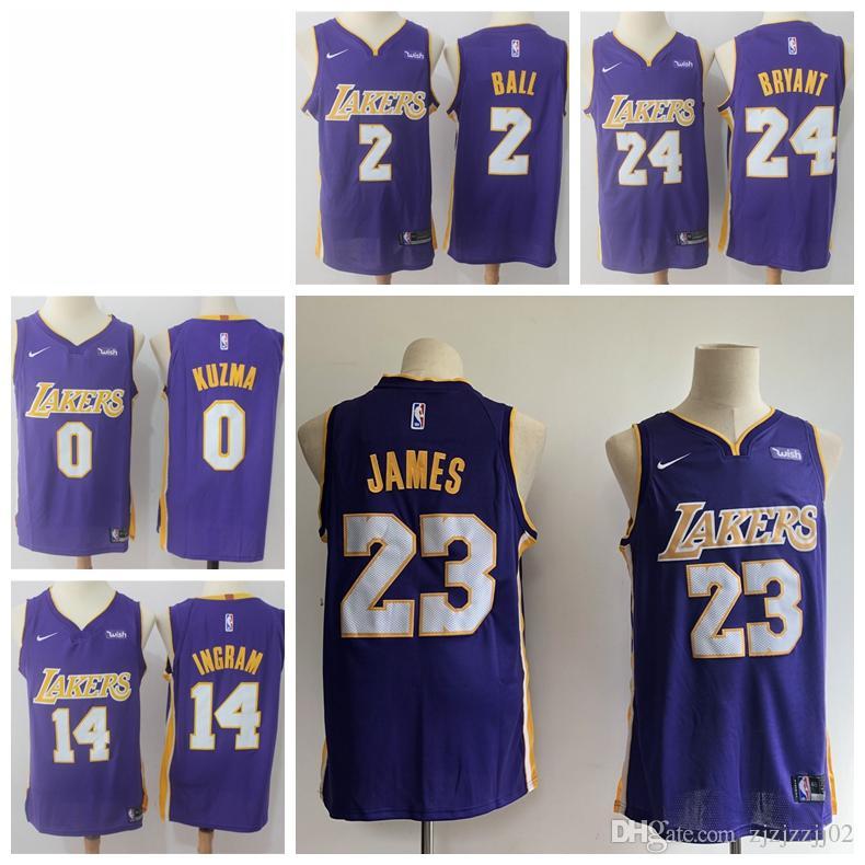 timeless design 8f4fc 941a6 2019 23 LeBron James Laker Jersey The Citys Los Angeles Kobes 24 Lonzo 2  Ball Kyle 0 Kuzma Brandon 14 Ingram Purple ball Jersey NEW