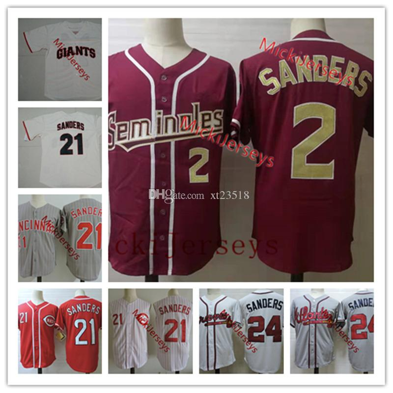 buy popular ee0e2 f2dbe Mens NCAA #2 Deion Sanders Florida State Seminoles baseball Jersey #21  Deion Sanders Cincinnati Jersey #24 Deion Sanders Atlanta Jersey