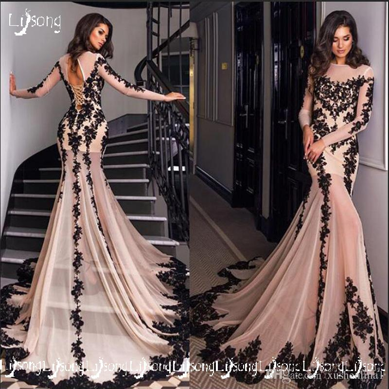 231fc597b32 Glamorous Mermaid Long Sleeves Black Lace Illusion Evening Dress Women  Formal Party Wear Maxi Gowns With Train Prom Wear Long Dress Custom  Designer Evening ...