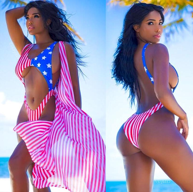 eed3e9683dd 2019 Summer Sexy Women Stars Stripes USA Flag One Piece Bikini Padded Bra  Bandeau Swimsuit America Flag Swimwear Backless Beachwear J190265 From  Janet1221, ...