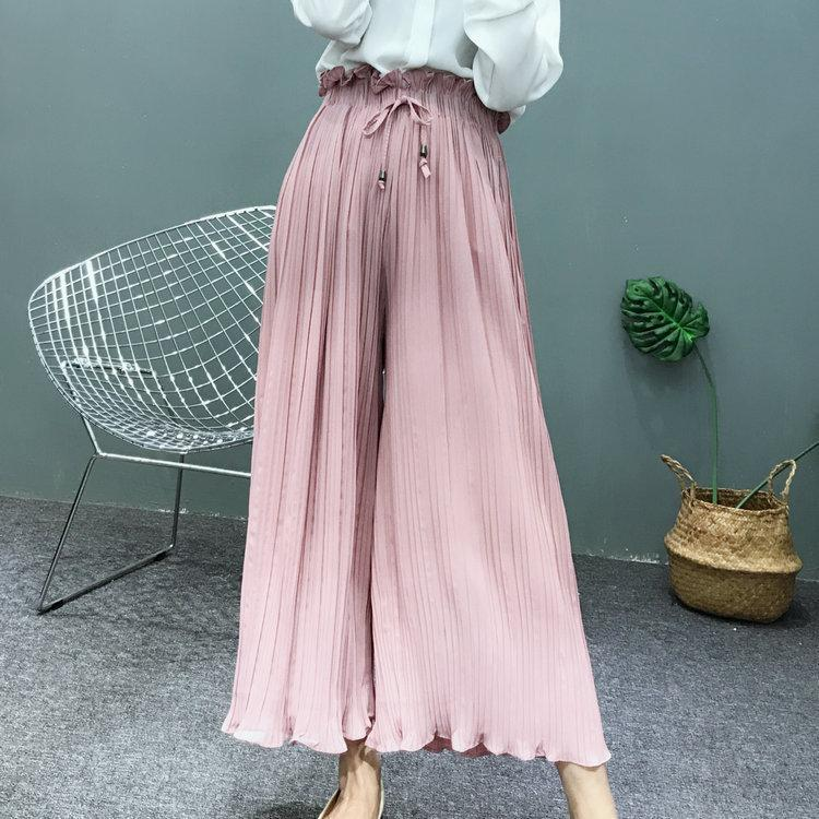 Hot Fashion New Wide Leg Pants Spring Summer Korean Flower Waist High Waist Pleated Pants Petals Hem Wild Chiffon Women Skirt