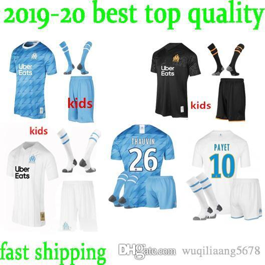 top 19 20 Olympique de Marseille soccer jersey kids kit with socks 2019 2020 OM Marseille BALOTELLI PAYET thauvin L.gustavo football shirts