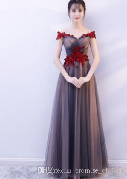 e6178072be4b Evening Dress 2019 New Style Winter Banquet Noble And Elegant One Word  Shoulder Long Fairy Temperament Show Thin Socialite Evening Dress Plus Size  Evening ...