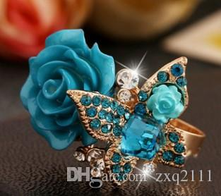 European American women jewelry butterfly ring party wedding engagement birthday Christmas festival gift
