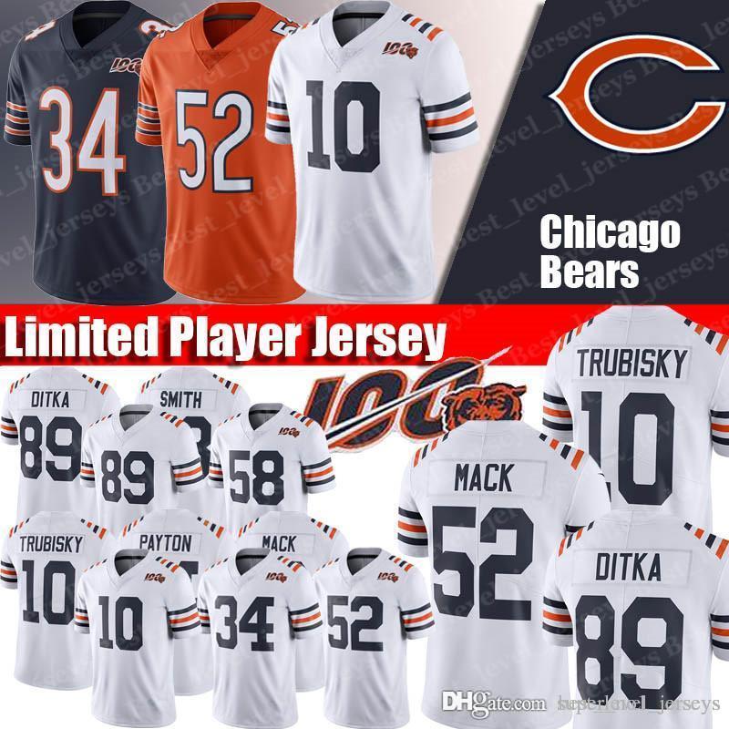info for 71e94 1d1f4 Chicago Bears 100 Seasons 52 Khalil Mack Jersey 10 Mitchell Trubisky  Jerseys 29 Tarik Cohen Jersey34 Walter Payton Jersey fast shipping