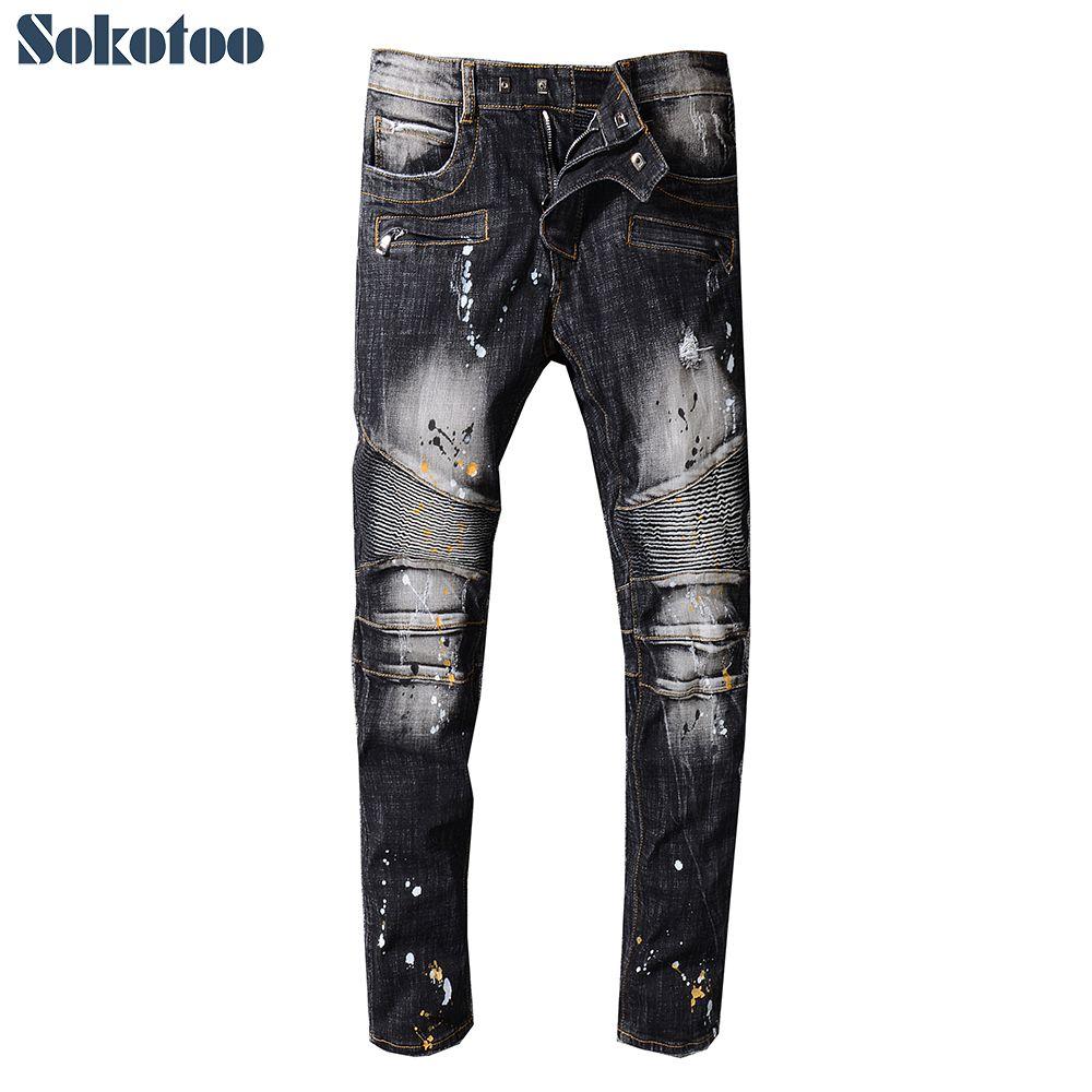 fd18313c382 2019 Sokotoo Men S Black Slim Fit Stretch Cotton Denim Biker Jeans For Moto  Plus Size Painted Patchwork Straight Pants From Gavinuni