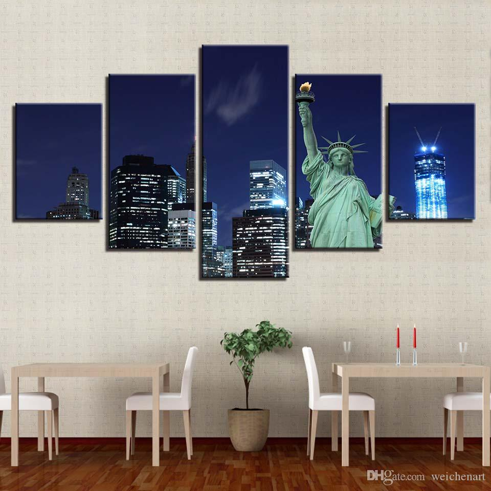 Modular Pictures HD Prints Home Decoration Statue Liberty 5 Pieces Canvas Painting Building Landscape Wall Art Artwork Poster