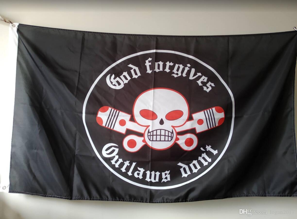 Outlaws MC Flag 90 x 150 cm Polyester Motorcycle Club One Percent Biker  Banner