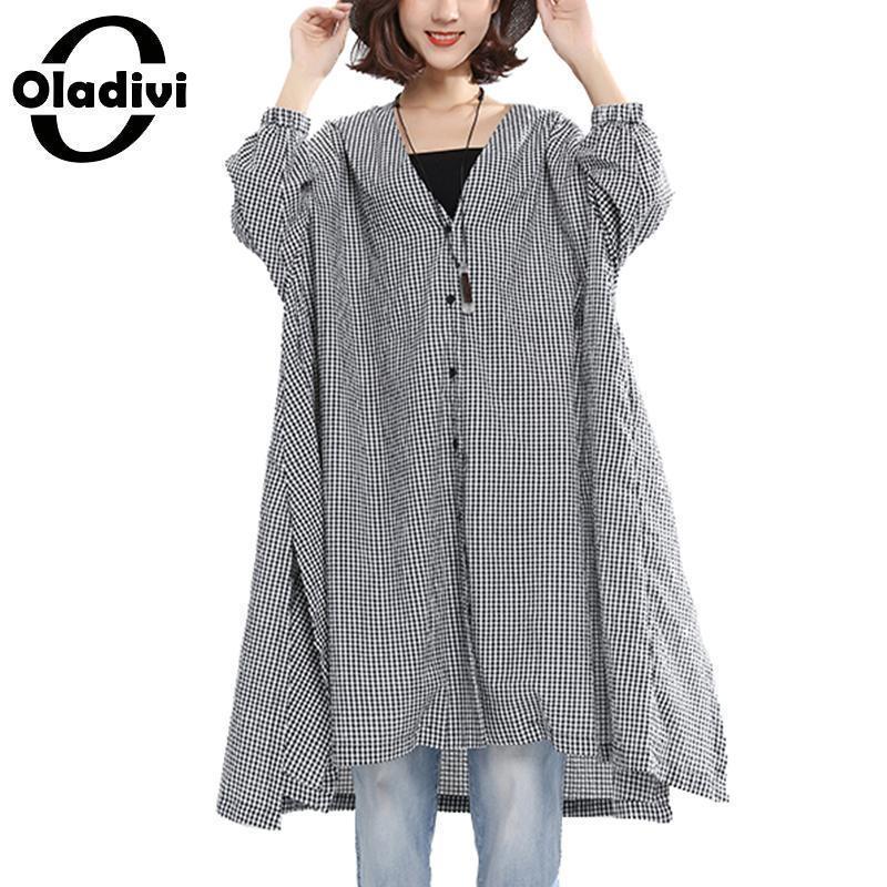 ee258c234231 Blusas de gran tamaño Oladivi Ropa de gran tamaño para mujer Camisas de  tela escocesa para mujer Camisetas sin mangas largas para mujer Kimonos ...