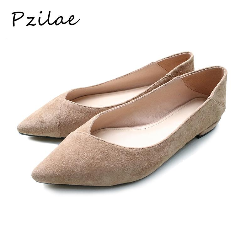 dd9057f853c0 Pzilae Women Flats Casual Shoes Genuine Leather Pointed Toe Zapatos ...