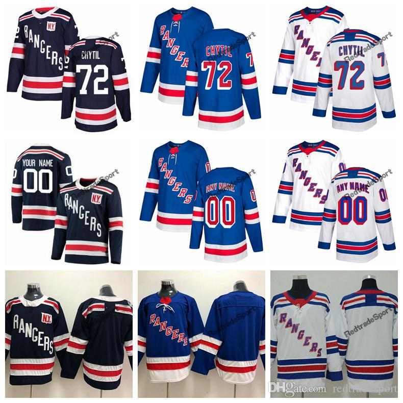 2018 Winter Classic New York Rangers Filip Chytil Hockey Jerseys Mens  Custom Name Home Blue  72 Filip Chytil Stitched Hockey Shirts S XXXL UK  2019 From ... 210fc73de
