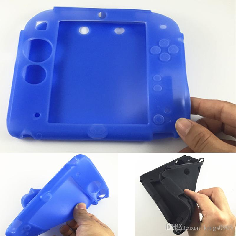 High Quality Black/Blue Soft Silicone Protective Case Rubber bumper Gel Skin Sleeve Cover for Nintendo 2DS Free Shipping