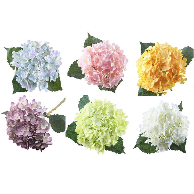 Simulation Hydrangea Flower Bouquet Party Wedding Home Decoration White / Blue / Pink Purple Yellow Artificial Hydrangea