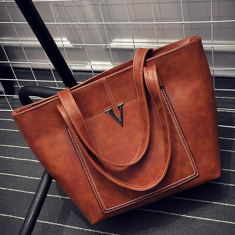 Wholesale- Vintage V Word Lady Brand Shoulder & Hand Bag Nubuck Leather Retro Big Womens Casual Tote Shoulder Bag Handbag Bolsos Mujer