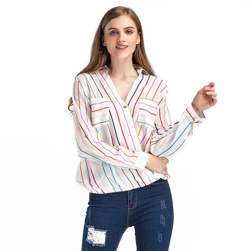 6e23f6c8a24235 2019 Europe Station Stripe Shirt Woman V Lead Hit Color Long Sleeve ...