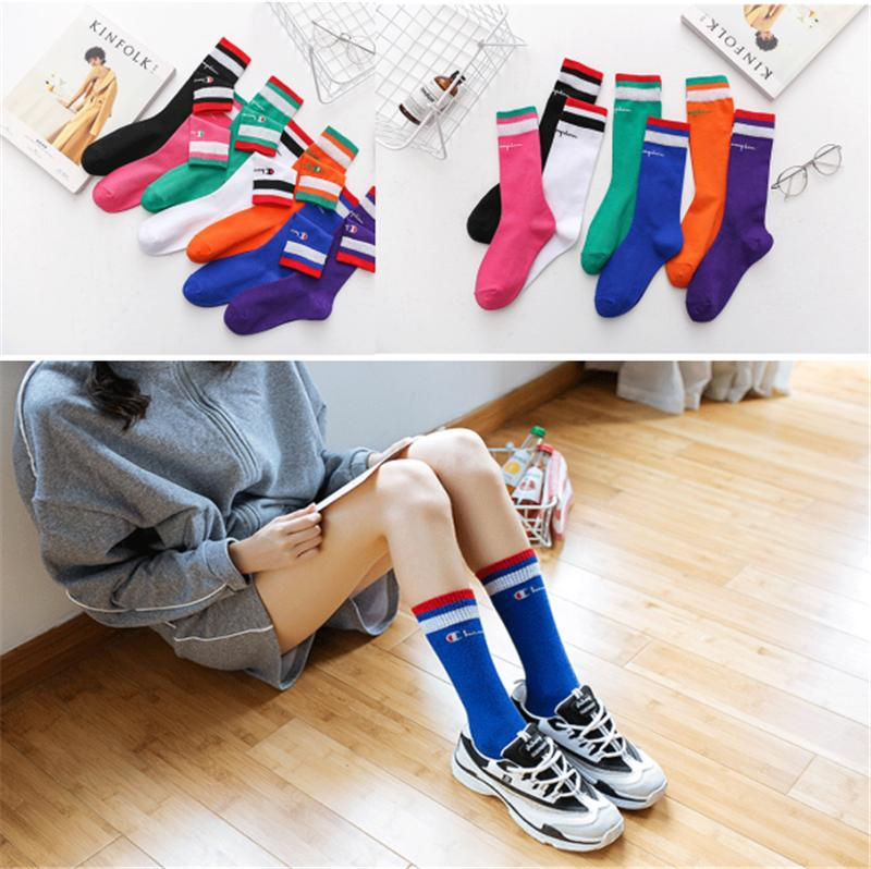3f629c8f3 Girls Champion Letter Printed Knee High Socks Cotton Teenager Student  Sports Stocking Long Socks Medium Length Stockings 2019 Sale B3183 Socks On  Sale For ...