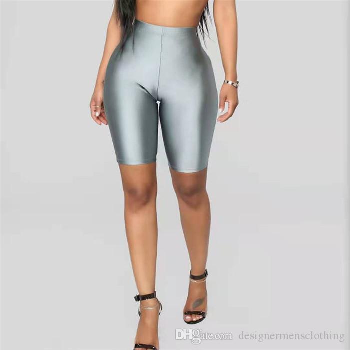 2b10daf05e43 Fluorescente Color Sólido Para Mujer Pantalones Cortos Flacos Sexy de  Cintura Alta Pantalones Cortos de Ciclismo Delgado Ropa Deportiva Femenina