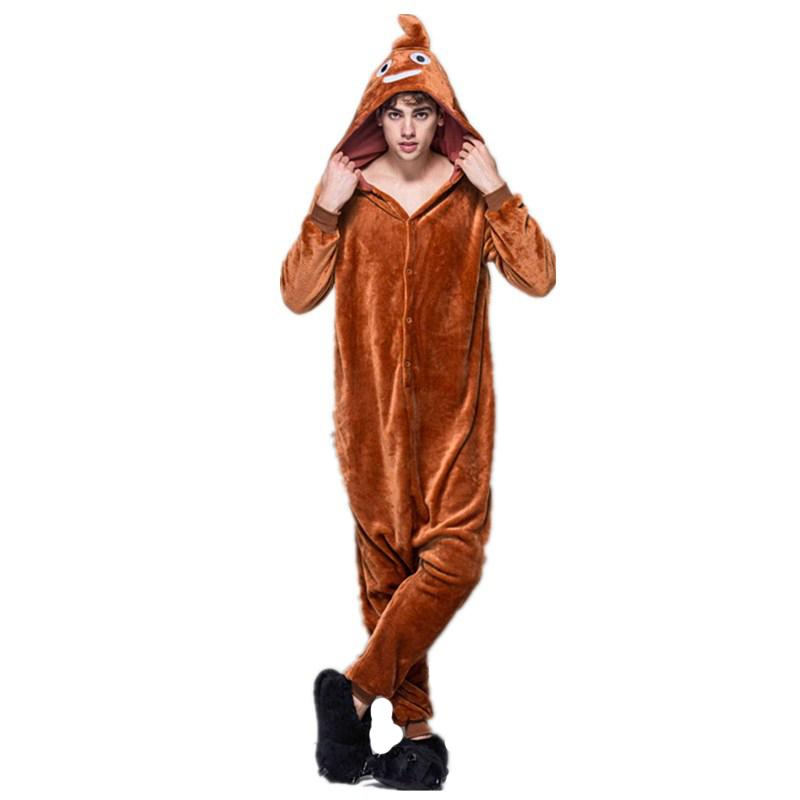 Cheap Soft Brown Poop Kigurumi Flannel One-Piece Poo Pajamas For Warm Halloween  Onesie For Adults Cosplay Party Costume Sleepwear ad103ff5c
