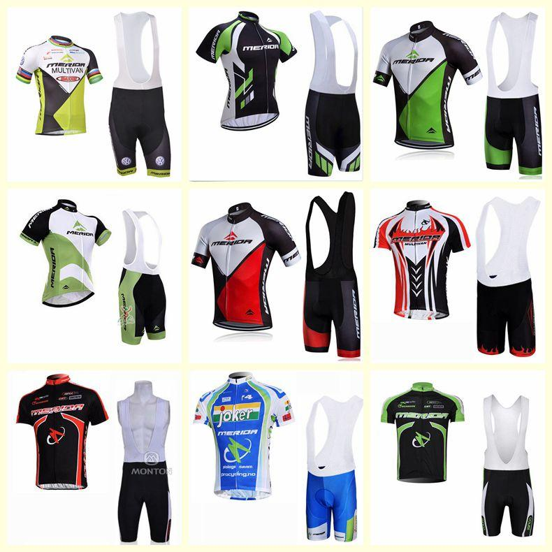 2019 MERIDA team Cycling Short Sleeves jersey bib shorts sets Men's Summer Breathable Runing Quick Dry Clothes Ropa Ciclismo U51726