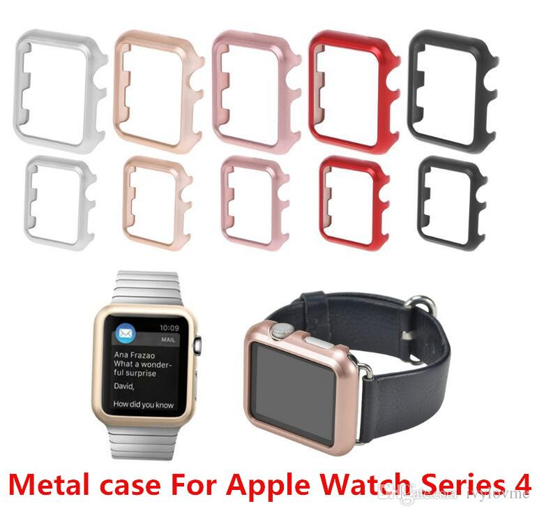 purchase cheap 06c62 5ffd0 Aluminum Alloy Case Cover Screen Protector for Apple Watch Series 4 40/44mm  Fashion Gloss Frame Cover Shell Accessories