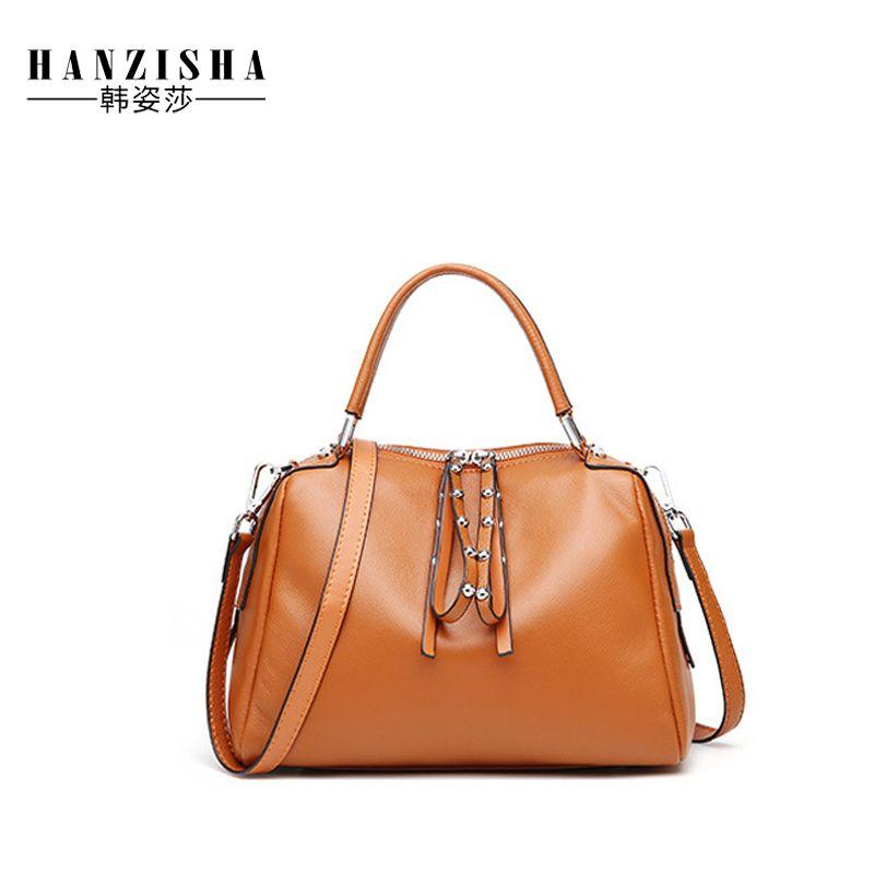 602aecb9346f 2019 Fashion 2018 Genuine Leather Women Boston Handbag Luxury Brand Female  Bag Famous Designer Woman Shoulder Bag Women Tote Feminina Bolsa Best  Messenger ...