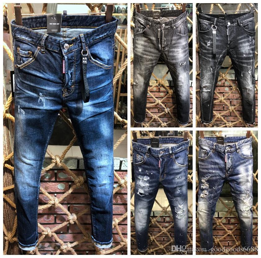 c53a98c4 2019 NUEVA Moda Hip Hop Ripped Destroyed hombres Agujero vaqueros Biker  Costura de rayas blancas Parte inferior Cremallera lateral Jeans Negro azul  ...