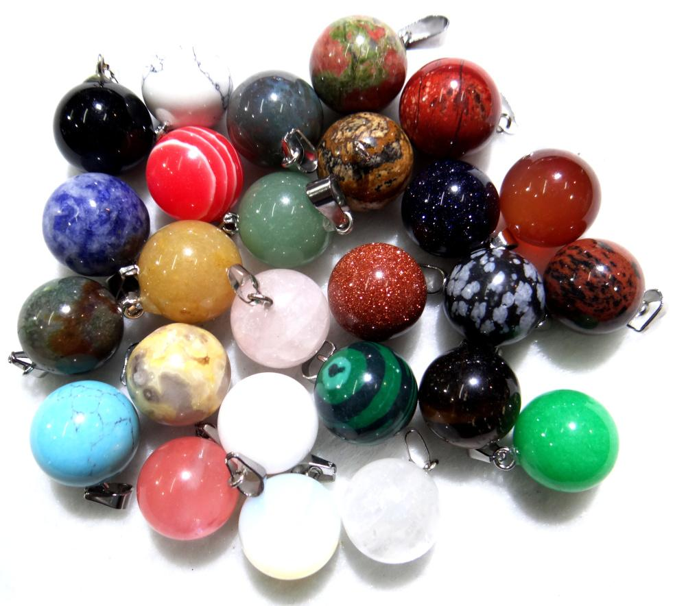 Wholesale Natural Stone Quartz Crystal tiger eye Opalite Unakite Mix Onyx Charms Ball Pendants For Jewelry Making necklace 12PC