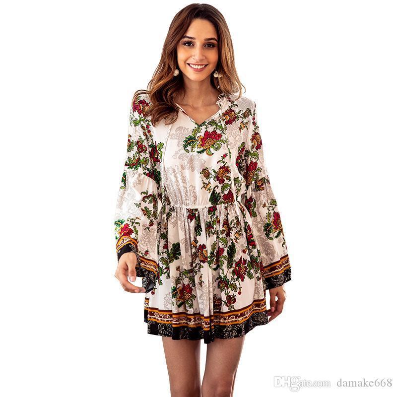 51bfcd1fea Women Designer Maxi Dresses Clothes Dresses Sexy Short Dress Women  Jumpsuits Cotton Printed Long Sleeved V Neck Elastic Waist Holiday Dress  Chiffon Dress ...