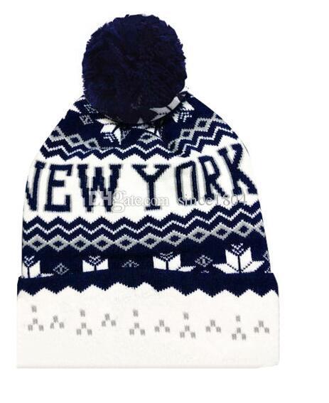 c1c667c6421 New York Beanies Hats Men Women Winter Knitted Caps With Ball Skullies  Baseball Cap Slouchy Beanie From Since1804