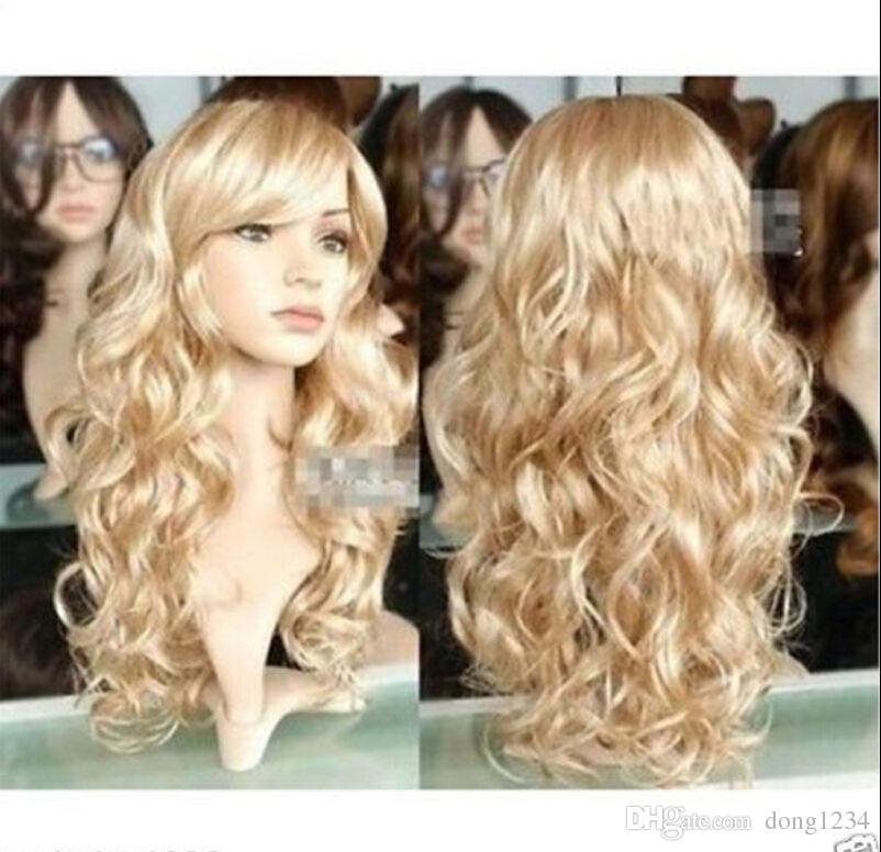 cc6981c08f0 Fashion New Women Sexy Lady Long Wavy Curly Blonde Party Hair Full Cosplay  Wig