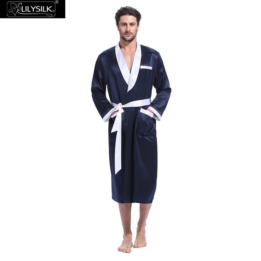 94148dcbb3 2019 Lilysilk Robe Sleepwear Kimono Bathrobe Male Silk Men Contrast Color  Designer Long Sleeve Belt Tier Pockets From Cutelove66