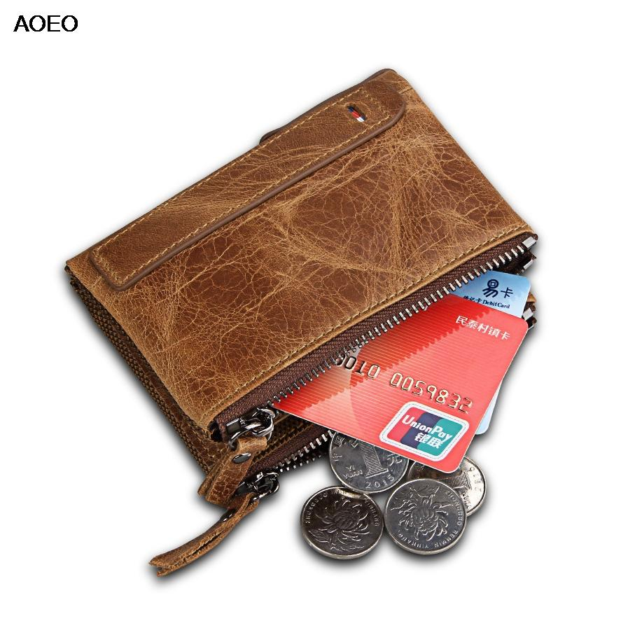 6345aefa49ede AOEO Unisex Genuine Leather Wallet for Women Men Double Zipper ...