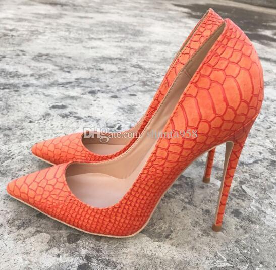 Aguja Marca Tacón En AltoLujo Naranja 12cm Serpiente Vestir De Nueva Punta Zapatos Baja Mujer Boca Piel Moda dWrBeCxo