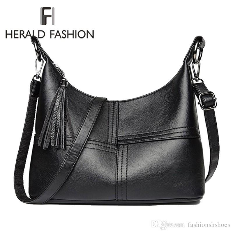 Herald Fashion Women Shoulder Crossbody Bag With Tassel Female Casual Large  Totes High Quality Leather Ladies Hobo Messenger Bag  290684 Discount  Handbags ... f9bffd347e7f1