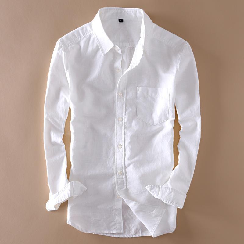 eaaa83f6ff1 2019 Elegant Mens Long Sleeve White Linen Shirt Slim Fit Turn Down ...